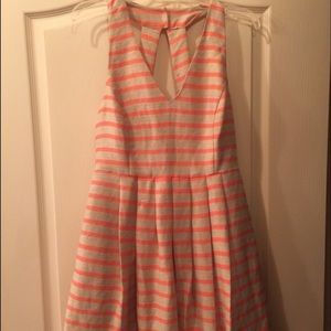 Banana Republic Pink and Cream Striped Linen Dress